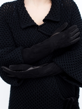 Длинные перчатки ELEGANZZA (Элеганза) IS5003shelk Черный фото №3 01-00004211